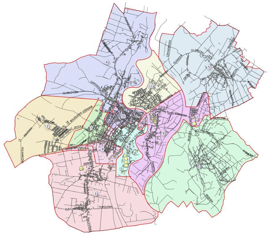Rys. Mapa poglądowa stref budżetu obywatelskiego